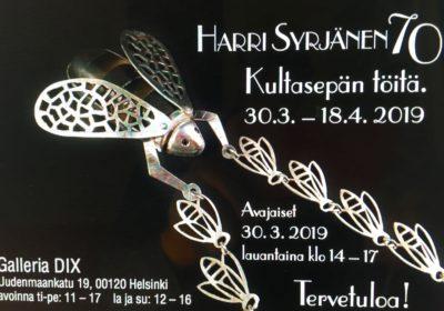 Kultaseppämestari Harri Syrjäsen juhlanäyttely Galleria Dixissä Helsingissä 30.3.-18.4.