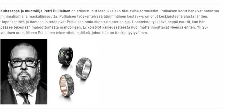 Kultaseppä Petri Pulliainen on Vuoden Taito-Finlandia finalisti.